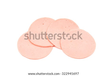 ham sausage or rolled bologna slices isolated on white background. - stock photo