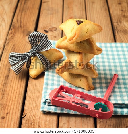 Hamantaschen cookies for Jewish festival of Purim - stock photo