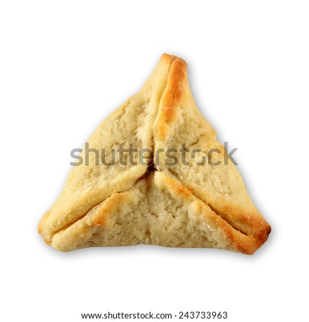 Hamantaschen cookies or hamans ears for Purim celebration (jewish holiday). isolated on white  - stock photo