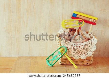 Hamantaschen cookies or hamans ears Purim celebration (jewish holiday)  - stock photo