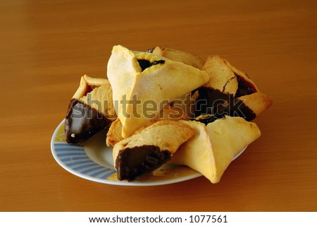 Hamantashen, traditional pastry for the Jewish holiday of Purim - stock photo
