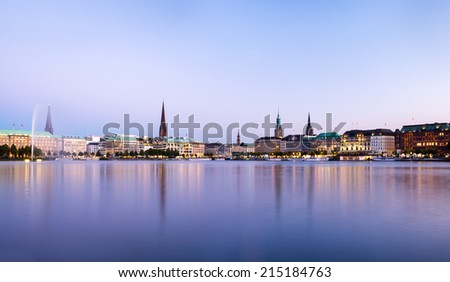 Hamburg Alster view Panorama - stock photo