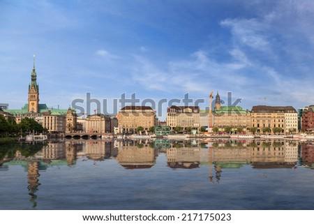 Hamburg city panorama skyline, Germany - stock photo