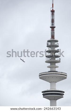 hamburg communication tower on sky background - stock photo