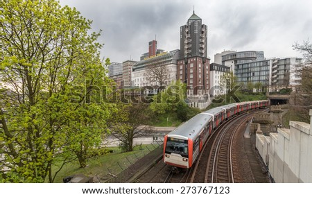 hamburg germany city view in spring - stock photo
