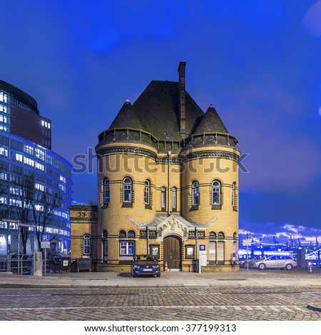HAMBURG, GERMANY - FEB 2, 2016: old police station in the Speicherstadt in Hamburg, Germany. The Speicherstadt became Unesco world cultural heritage acceptance in 2015. - stock photo