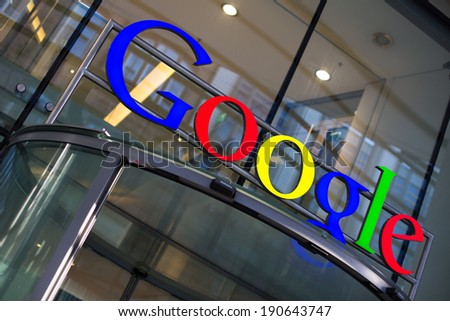 HAMBURG, GERMANY - MARCH 4, 2013: Google Corporation Building sign - stock photo