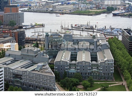 HAMBURG, GERMANY - MAY 25, 2011: Building of the Gruner + Jahr Publishing on May 25, 2011 in Hamburg, Germany. Gruner + Jahr GmbH is the largest European printing and publishing company. - stock photo
