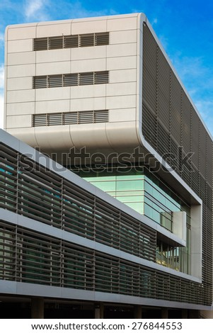 HAMBURG, GERMANY - MAY 04. Modern office buildings in Hamburg Altona district Neumuehlen close to the river Elbe on May 04, 2015. The district was former the old fishing port of Hamburg.  - stock photo