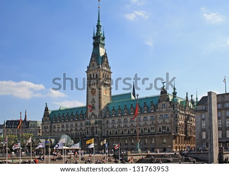 HAMBURG, GERMANY - MAY 23, 2011: Town hall in Hamburg, Germany is shown on May 23, 2011. The building was built in 19th century and is the seat of Hamburg government and the First Mayor. - stock photo