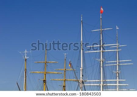 Hamburg, Germany, Sailing Ship Masts - stock photo