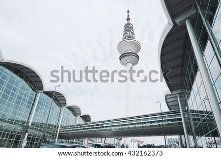 Hamburg, Germany - September 15, 2009: Modern Architecture. Congress Centre and TV Tower, Hamburg - stock photo