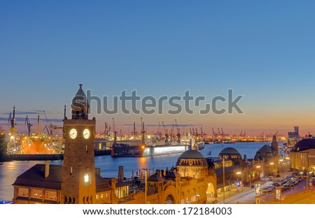 Hamburg harbor after sunset - stock photo