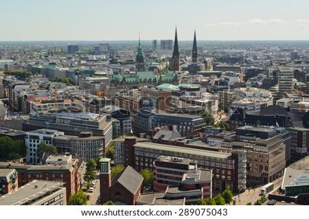 Hamburg rathaus and city scape, Germany - stock photo