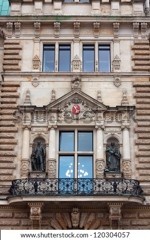 Hamburg Rathaus.Architecture detail of the city hall or town hall of Hamburg. Neo-renaissance style.It is one of the few completely preserved buildings of historicism in Hamburg - stock photo