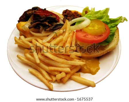 Hamburger and Fries - stock photo