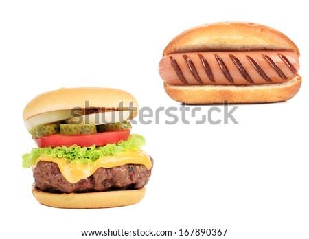 Hamburger and hot dog collage. Isolated on a white background. - stock photo