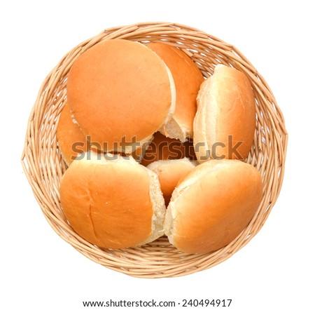 Hamburger bun isolated in basket on white background  - stock photo