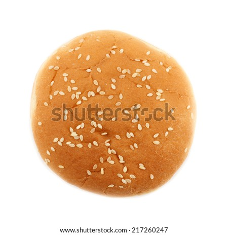 Hamburger bun on a white background - stock photo