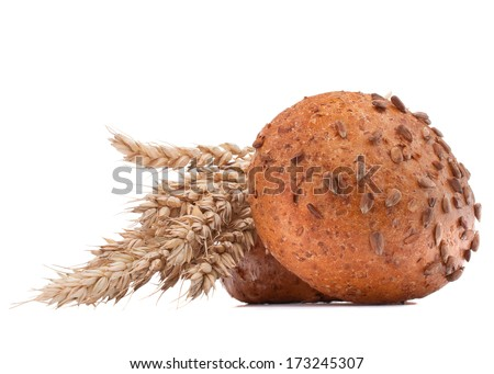 hamburger bun or roll  and wheat ears bunch  isolated on white background cutout - stock photo