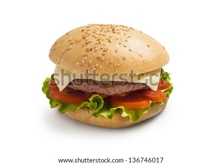 Hamburger - burger with grilled beef, cheese and vegetables - stock photo