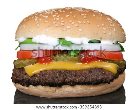 Hamburger Cheeseburger BBQ burger bun - stock photo