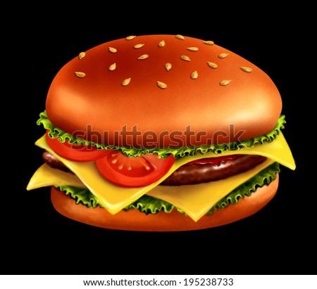 Hamburger drawing, isolated on black - stock photo