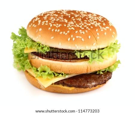 Hamburger in closeup - stock photo