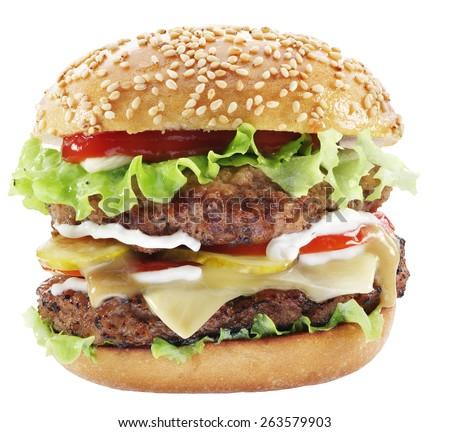 Hamburger isolated on a white background. - stock photo
