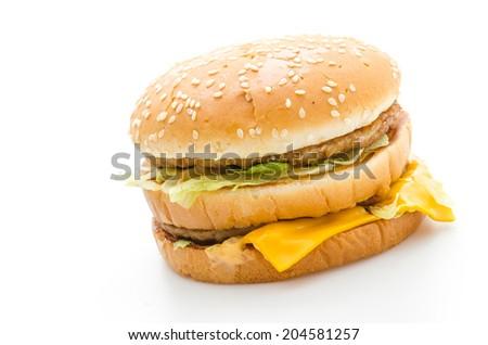 Hamburger isolated on white - stock photo