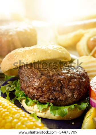 hamburger meal - stock photo