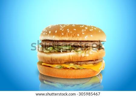 hamburger on a blue background - stock photo