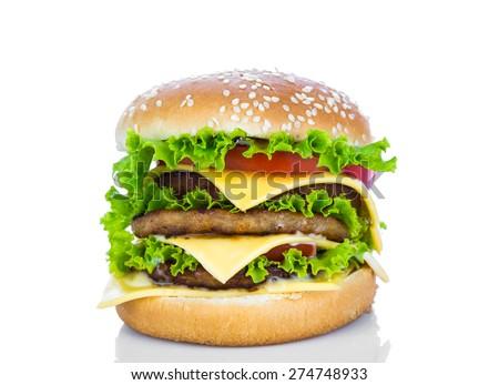 Hamburger on white background - stock photo