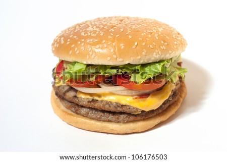 Hamburger on white isolation background - stock photo
