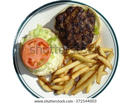 Hamburger plate on white - stock photo