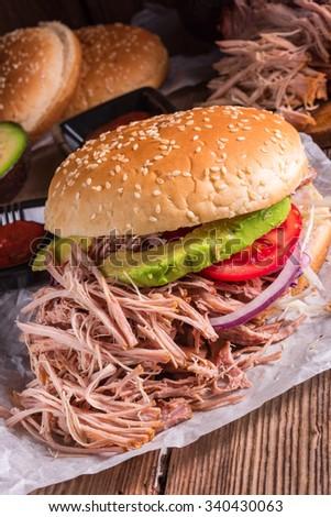 Hamburger pulled pork - stock photo