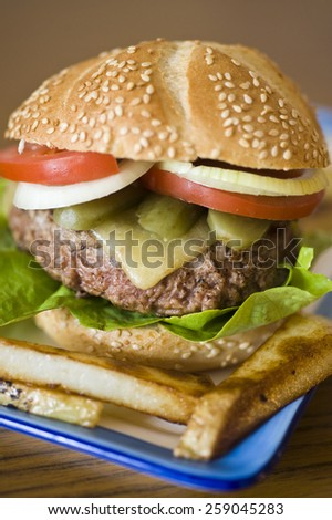 Hamburger with a big, heavy, man-size beef patty, lettuce, cheese, pickle, onion, tomato and served with large chunky chips/fries. - stock photo