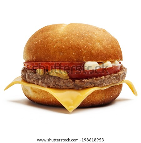 Hamburger with bacon, cheese and tomatoes isolated on white background. - stock photo