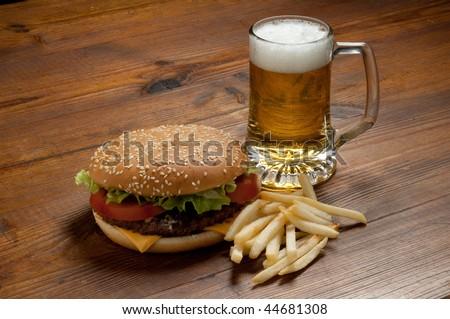 hamburger with beer - stock photo