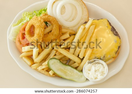 Hamburger with cheese pickle fries and just about everything - stock photo