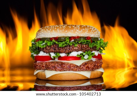 Hamburger with fire - stock photo