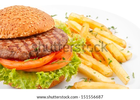 Hamburger with french fries isolated on white - stock photo