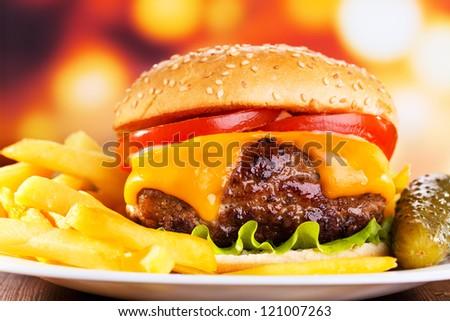 hamburger with fries - stock photo