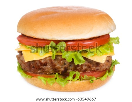 hamburger with vegetables on white background - stock photo