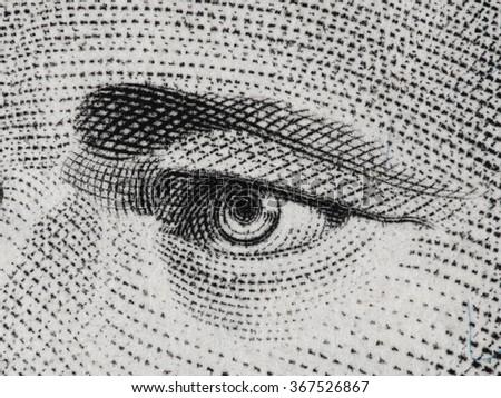 Hamilton eye on us ten dollar bill extreme macro, USA founding father, united states money closeup - stock photo
