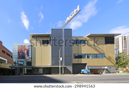 HAMILTON, ONTARIO - JULY 19, 2015: Art Gallery of Hamilton. Hamilton is the centre of a densely populated and industrialized region at the west end of Lake Ontario  - stock photo