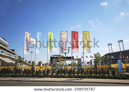 HAMILTON, ONTARIO - JULY 19, 2015:The Hamilton Soccer Stadium is the official Toronto 2015 venue for all football games of the Pan-Am Games  - stock photo