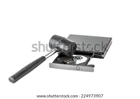 hammer and external CD DVD burner writer isolated on white - stock photo