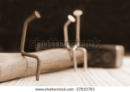 Hammer and nails. - stock photo