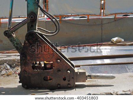 Hammer attached equipment for drilling and breaking - stock photo